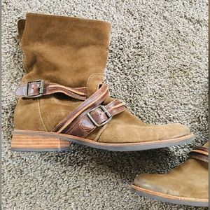 Genuine Olive Suede Strappy Buckled Booties